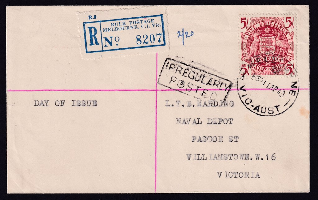 Registered (irregularly posted) uncacheted fdc for the 5/- Arms stamp postmarked Melbourne Vic cds to Williamstown on fdi - 11th April 1949.<br />It would appear this was not handed over the counter in the post office but put in street box with red registration lines on cover.