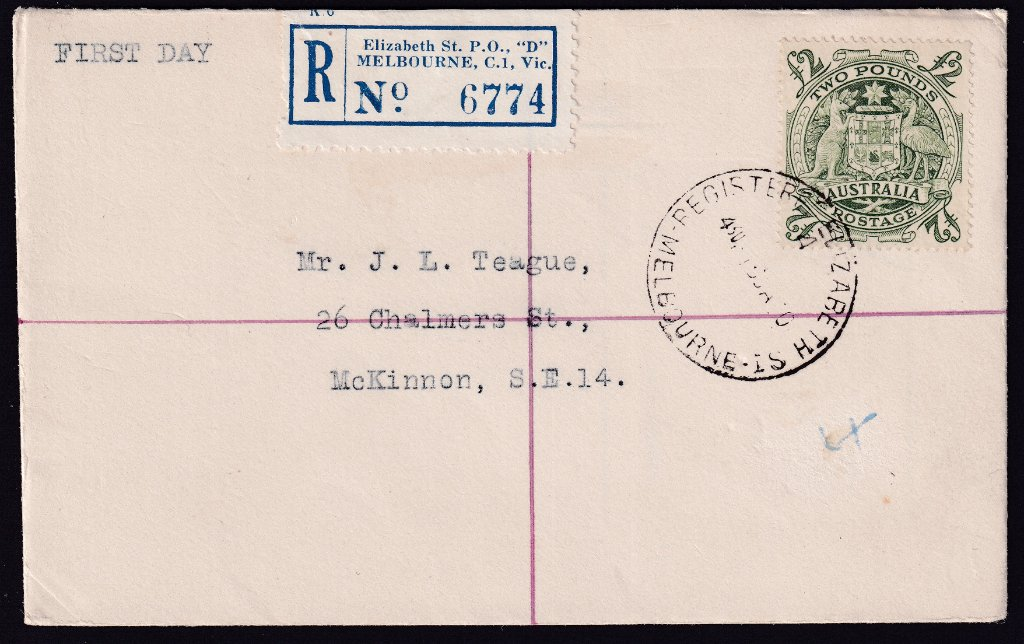 Registered uncacheted fdc for the £2  Arms stamp postmarked Registered Elizabeth St. Melbourne Vic cds to Williamstown on fdi - 16th January 1950