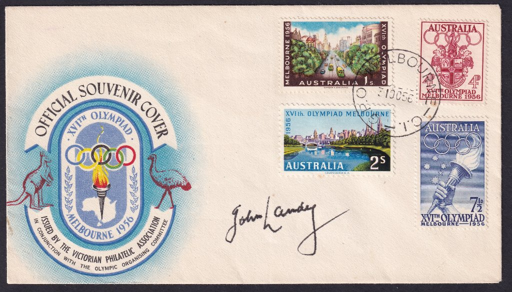 Official Souvenir Cover for Melbourne Olympics Games stamps, signed by John Landy, postmarked GPO Melbourne cds on fdi - 31st October 1956.