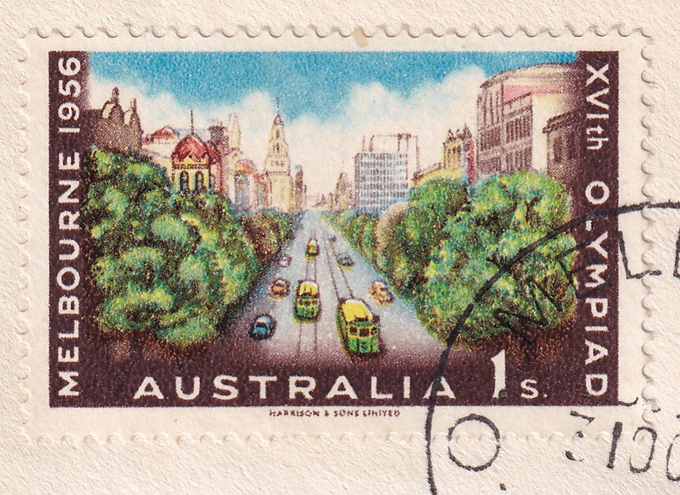 1956 Olympics 1/- stamp showing Collins Street Melbourne