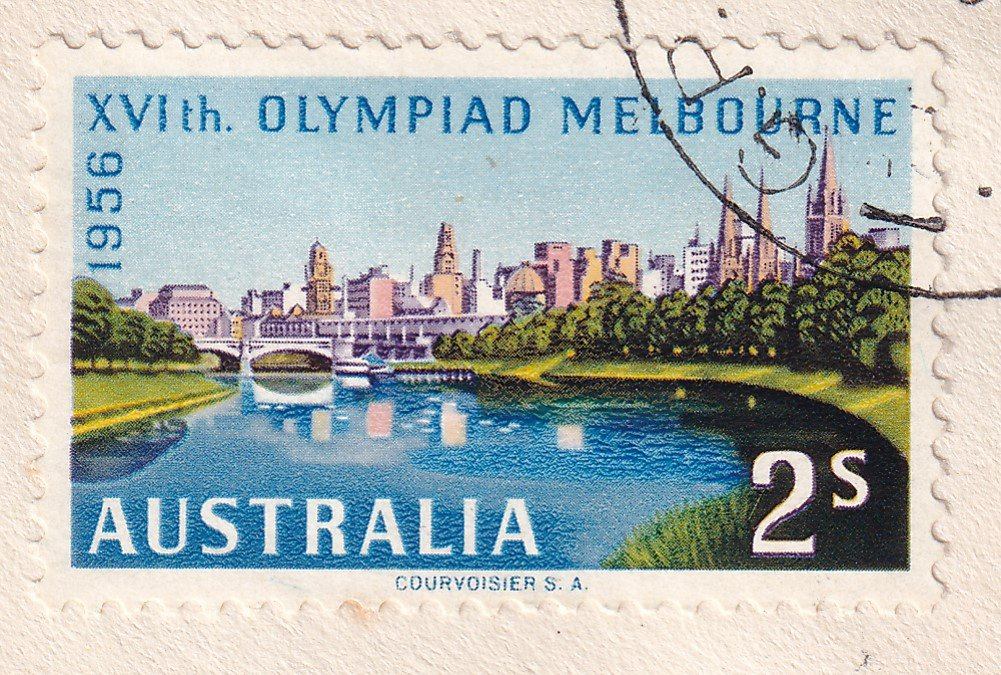 1956 Olympics 2/- stamp showing the Yarra River & the City of Melbourne