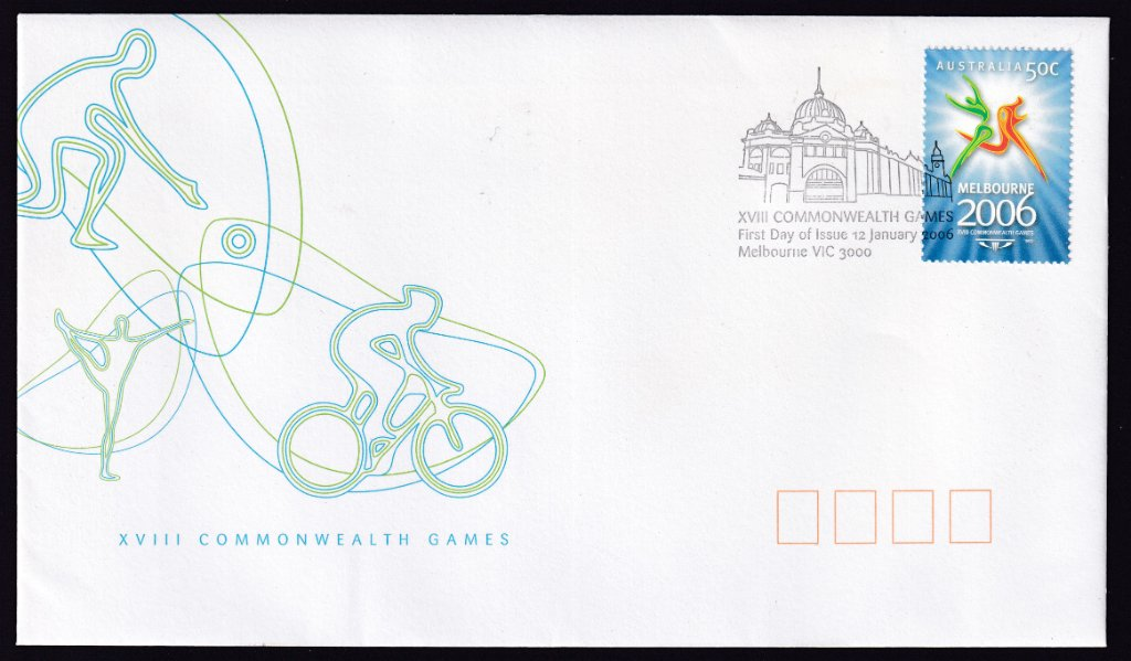 Australia Post fdc for 2006 Commonwealth Games part 1 50c gummed stamp postmarked with Flinders Street Station pictorial fdi cancel (APM #37713) - 12th January 2006