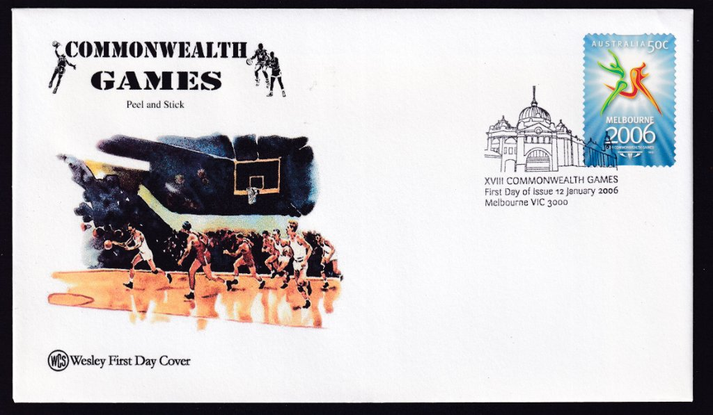 Wesley Cover Service fdc for 2006 Commonwealth Games part 1 50c self-adhesive stamp postmarked with Flinders Street Station pictorial fdi cancel (APM # 37713) - 12th January 2006
