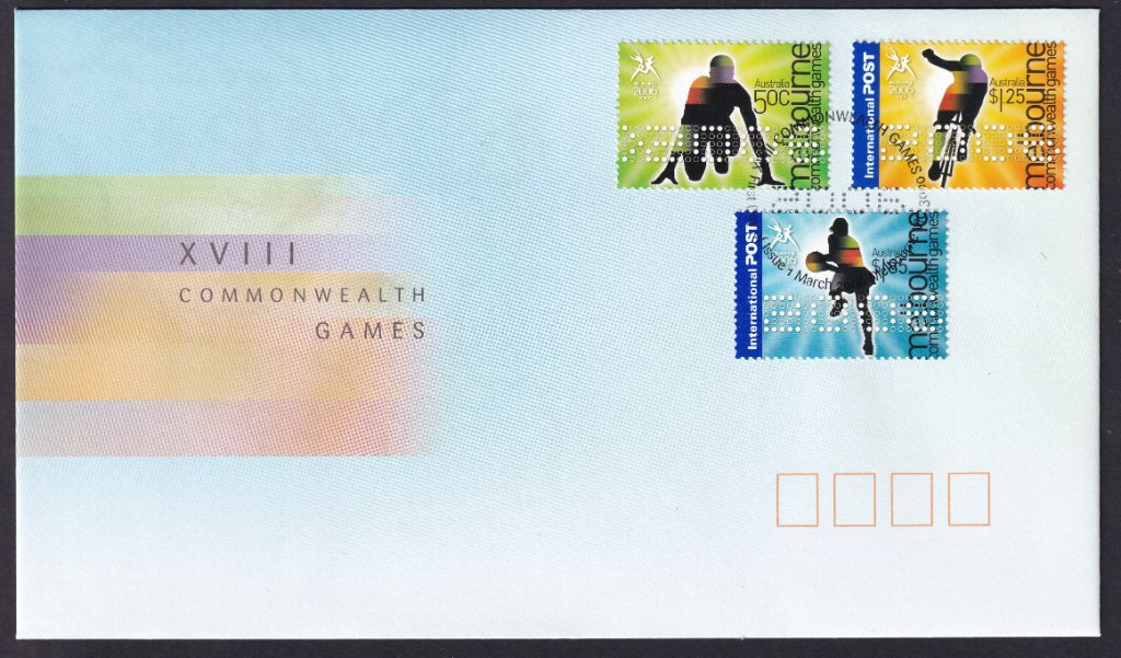 Australia Post fdc for 2006 Commonwealth Games part 2 50c, $1.25 & $1.85 gummed stamps postmarked with XVIII Commonwealth Games 2006 fdi postmark (APM #37741) - 1st March 2006