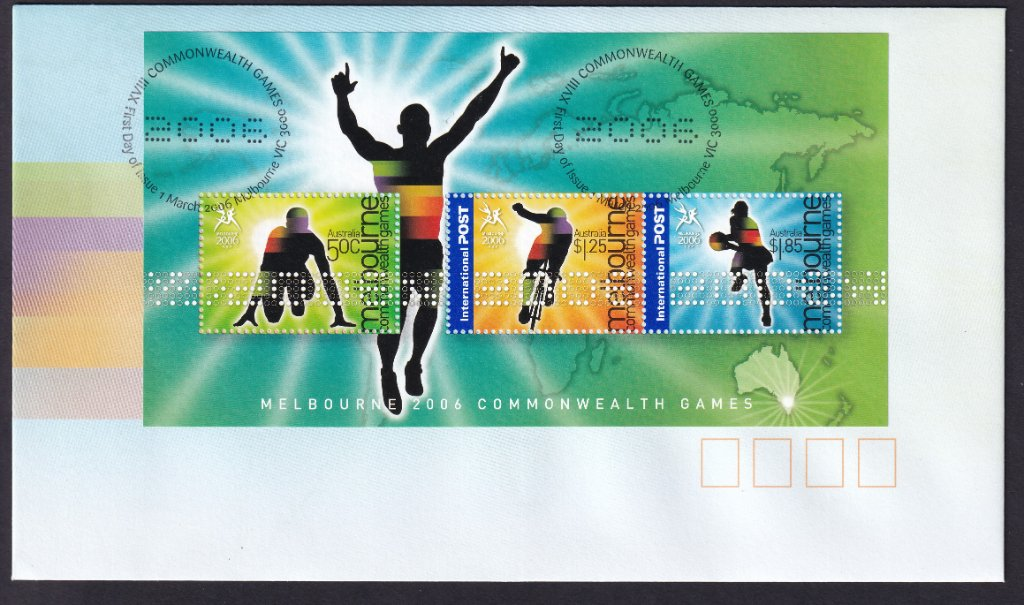 Australia Post fdc for 2006 Commonwealth Games part 2 Miniature Sheet postmarked with XVIII Commonwealth Games 2006 fdi postmark (APM #37741) - 1st March 2006