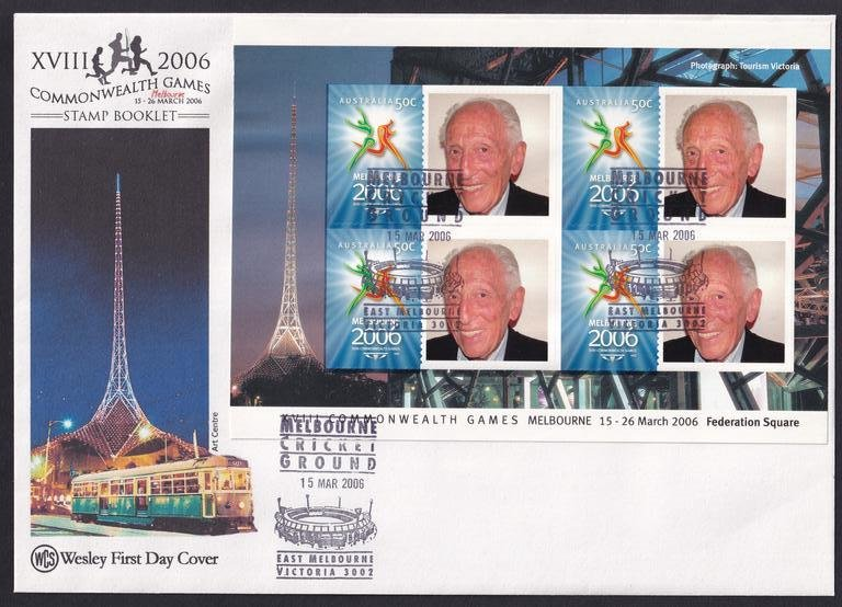 Wesley Cover Service fdc 2006 personalised stamp booklet pane, featuring Melbourne Stamp Dealer Max Stern postmarked with MCG pictorial postmark on the first day of the Games - 15th March 2006