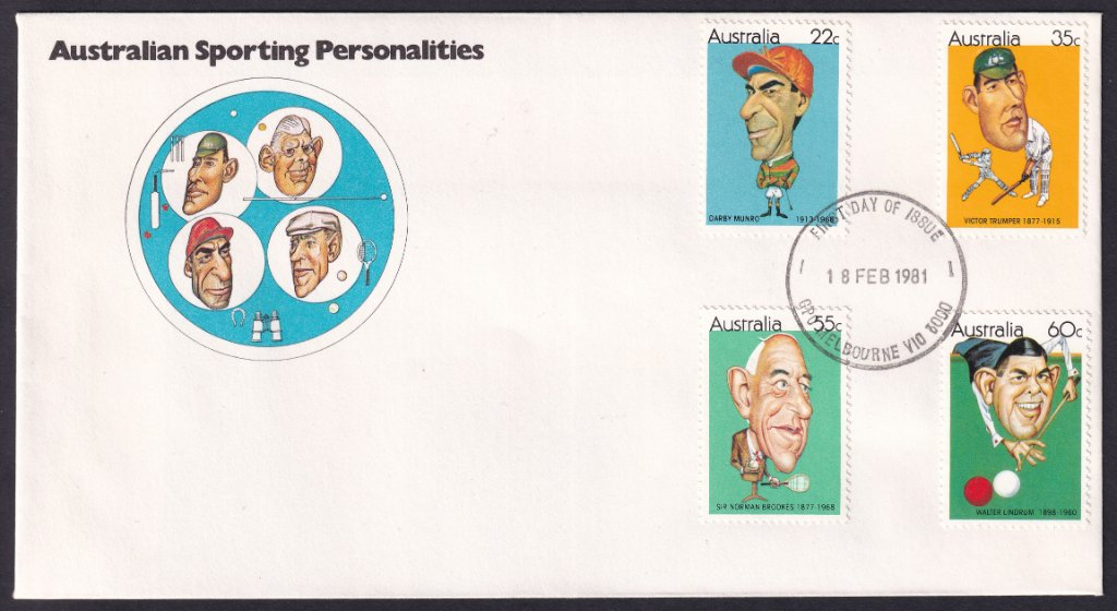 Australian Sporting Personalities fdc, including 35c Victor Trumper stamp postmarked GPO Melbourne fdi - 18th February 1981.
