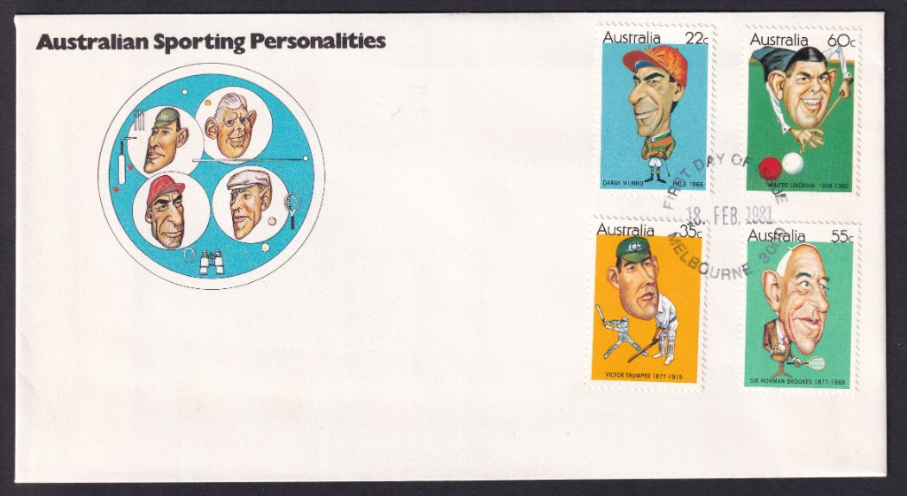 Australian Sporting Personalities fdc, including 35c Victor Trumper stamp postmarked unframed Melbourne fdi - 18th February 1981.