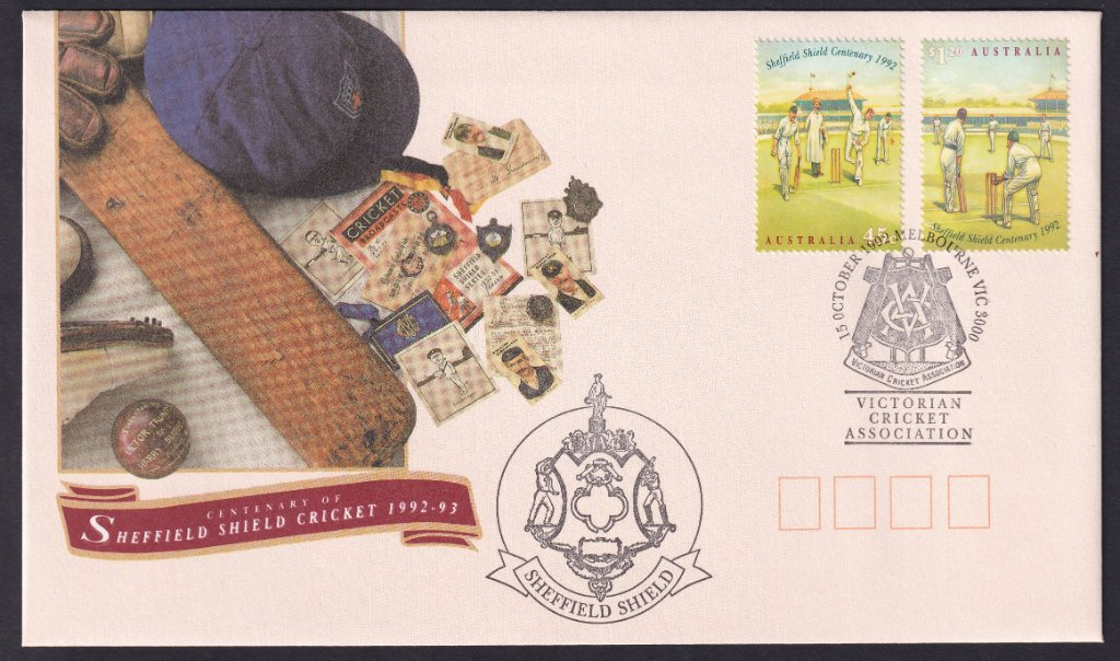 Australia Post Centenary of Sheffield Shield Cricket fdc cancelled with the Victorian Cricket Association pictorial postmark (APM #24950) & Sheffield Shield cachet on fdi - 15th October 1992.