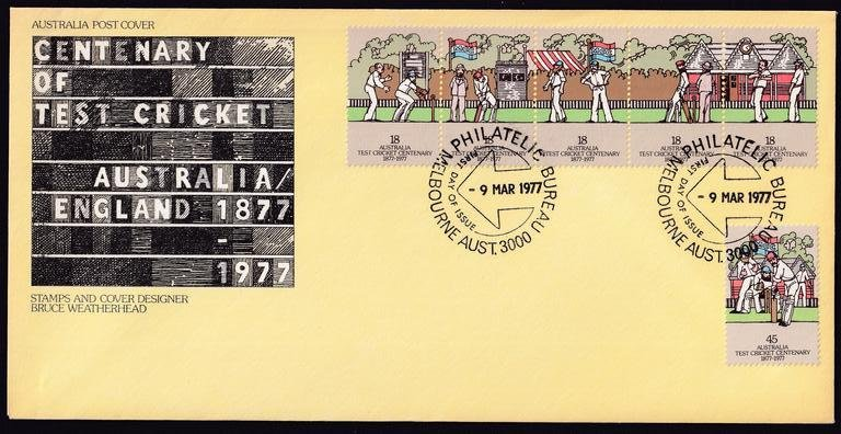 Australia Post Centenary of Test Cricket stamp fdc postmarked with Melbourne Philatelic Bureau 'Arrow' fdi - 9th March 1977
