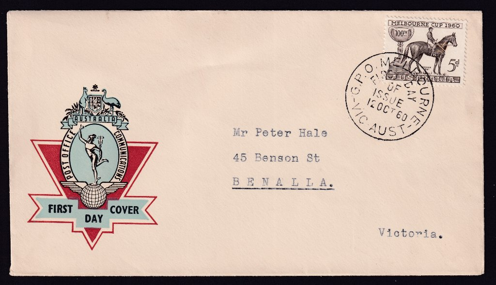 Australia Post Hermes fdc for Centenary of Melbourne Cup 5d stamp cancelled with GPO Melbourne fdi postmark to Benalla - 12th October 1960