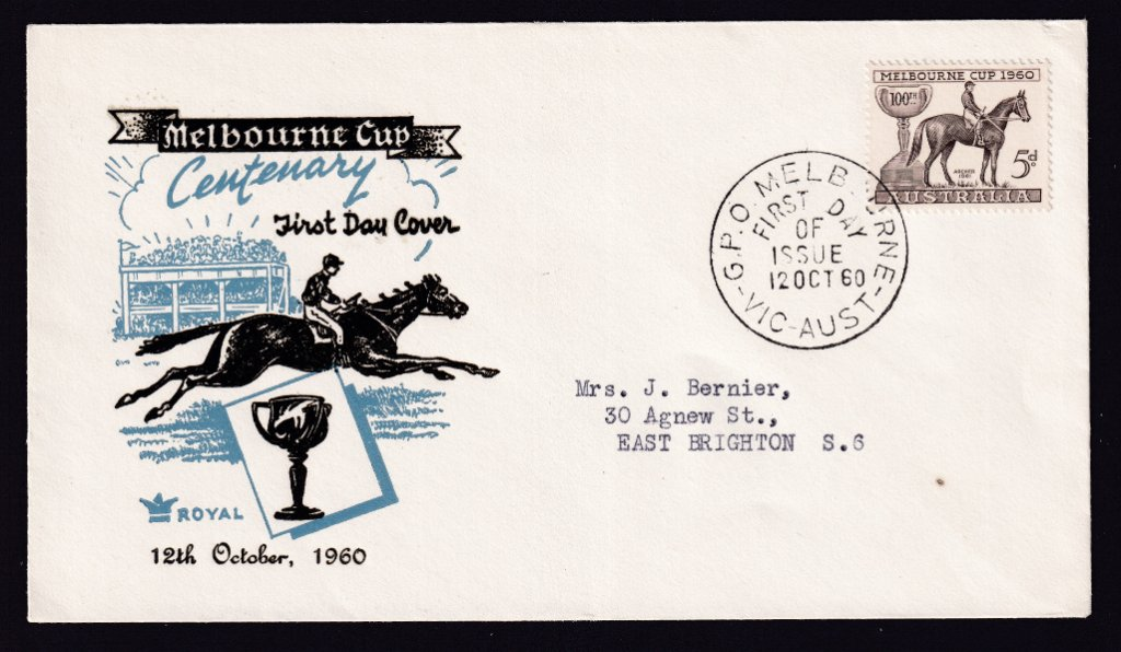 Wesley Cover Service fdc for Centenary of Melbourne Cup 5d stamp cancelled with GPO Melbourne fdi postmark  to East Brighton- 12th October 1960
