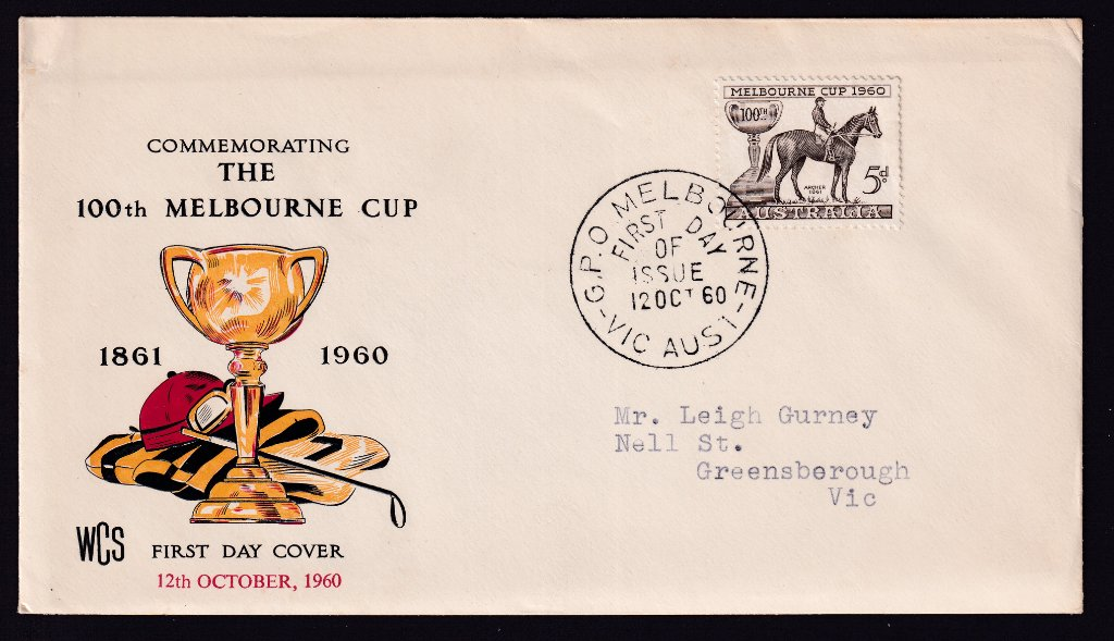 Roayl fdc for Centenary of Melbourne Cup 5d stamp cancelled with GPO Melbourne fdi postmark to Greensborough - 12th October 1960