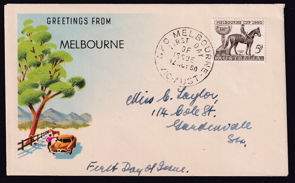 Greetings from Melbourne souvenir for Centenary of Melbourne Cup 5d stamp cancelled with GPO Melbourne fdi postmark  to Gardenvale - 12th October 1960