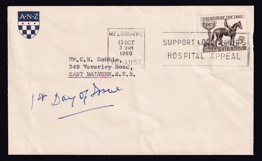 ANZ Bank advertising cover with Centenary of Melbourne Cup 5d stamp postmarked with Melbourne machine slogan cancel on 2nd day of issue - 13th October 1960