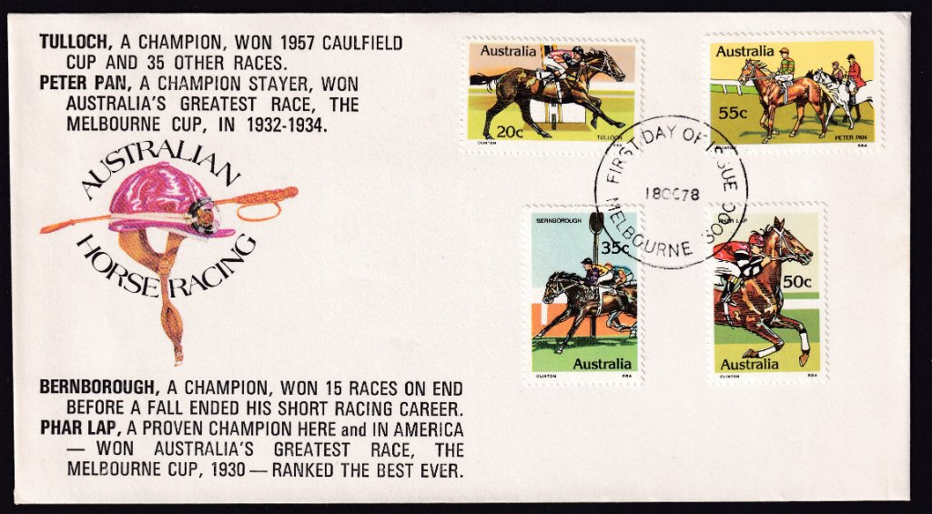 1978 Australian Racehorses Tulloch 20c, Bernborough 35c, Phar Lap 50c & Peter Pan 55c stamps fdc, overprinted with description of each horse,postmarked Melbourne fdi cancel - 18th October 1978