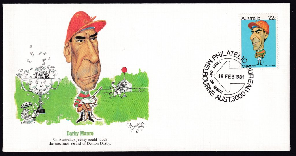 Fleetwood cachet fdc for jockey Darby Munro 22c stamp postmarked with Melbourne Philatelic Bureau 'Arrow' fdi - 18th February 1981.