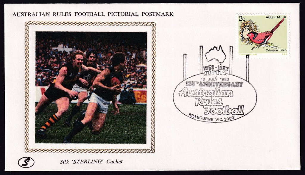 Sterling Silk cachet souvenir cover, by Jack Koch of Adelaide, for the 125th Anniversary of Australian Rules football cancelled with Melbourne pictorial postmark for the 125th Anniversary of Australian Rules football (APM #13630) - 10th July 1983.