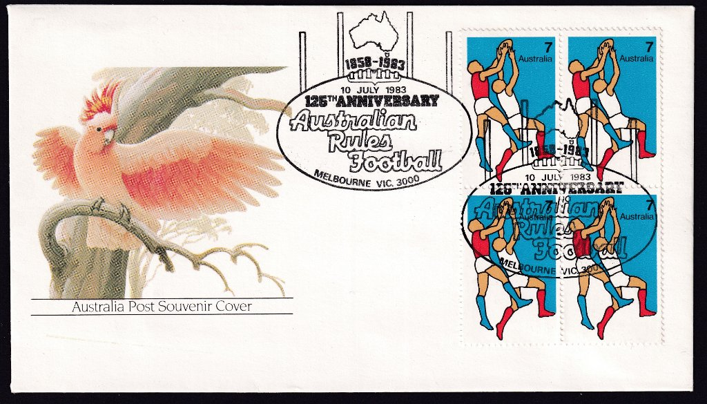 Australia Post Galahsouvenir cover,  cancelled with Melbourne pictorial postmark for the 125th Anniversary of Australian Rules football (APM #13630) - 10th July 1983.