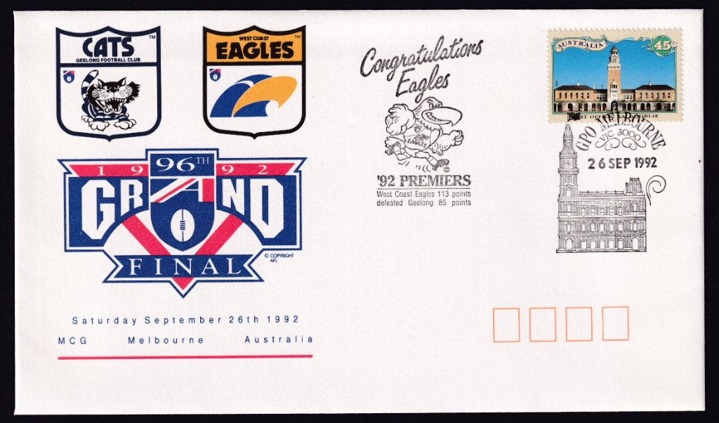 Australia Post Souvenir cover for the 1992 Grand Final, with 'Congratulations Eagles' added rubber cachet cancelled with Melbourne GPO pictorial postmark (APM #21900) on 26th September 1992
