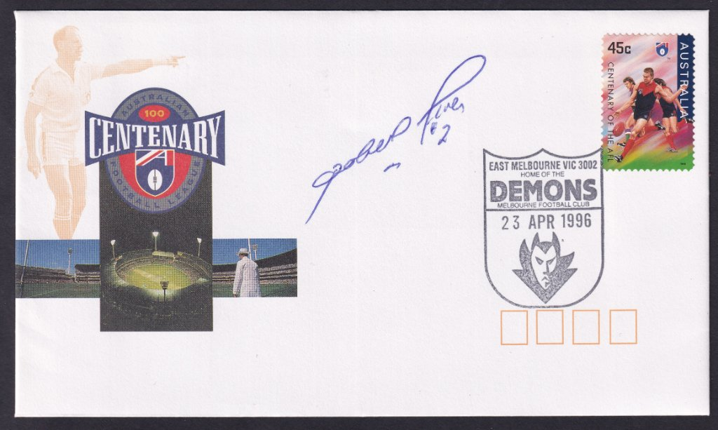 Centenary of the VFL fdc cancelled on fdi with Melbourne Demons pictorial postmark (APM #29081) on it's fdu - 23rd April 1996 & signed by champion Melbourne footballer & captain Robert Flower.