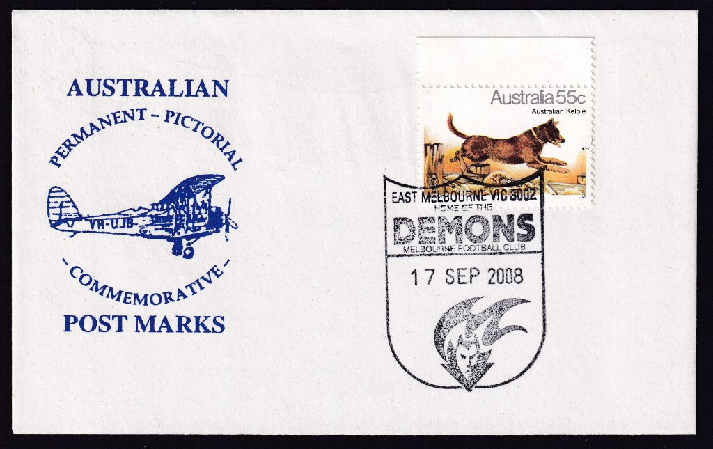 Unknown cachet for redesigned Melbourne Demons pictorial postmark (APM #40560) on it's fdu - 17th September 2008