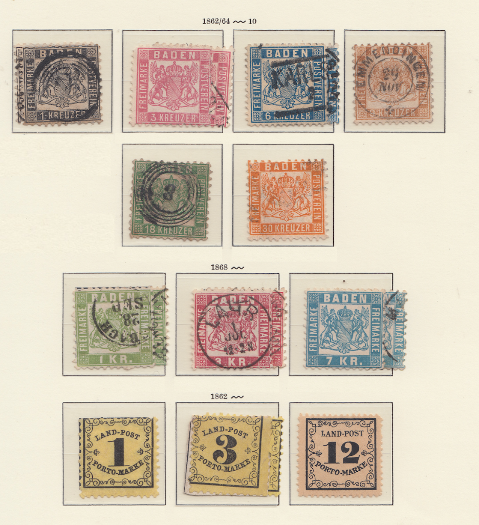 Album page 2 of early Baden Postage stamps.