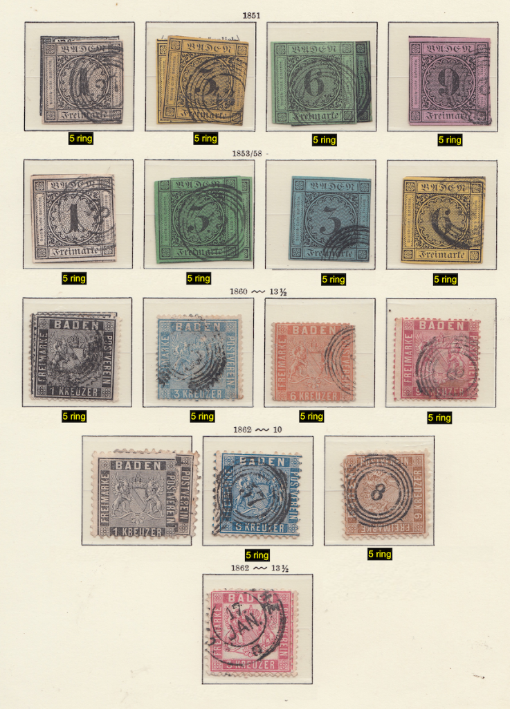 Album page 1 of early Baden Postage stamps.