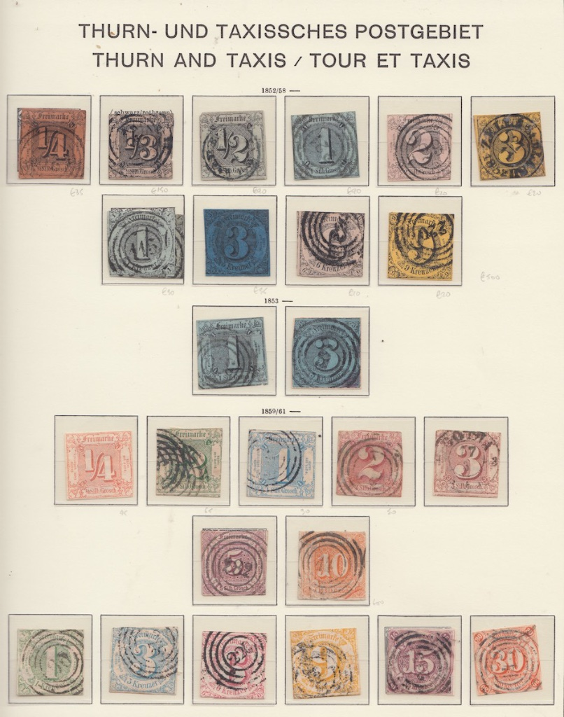Album page 1 of early  Thurn and Taxis Postage stamps.