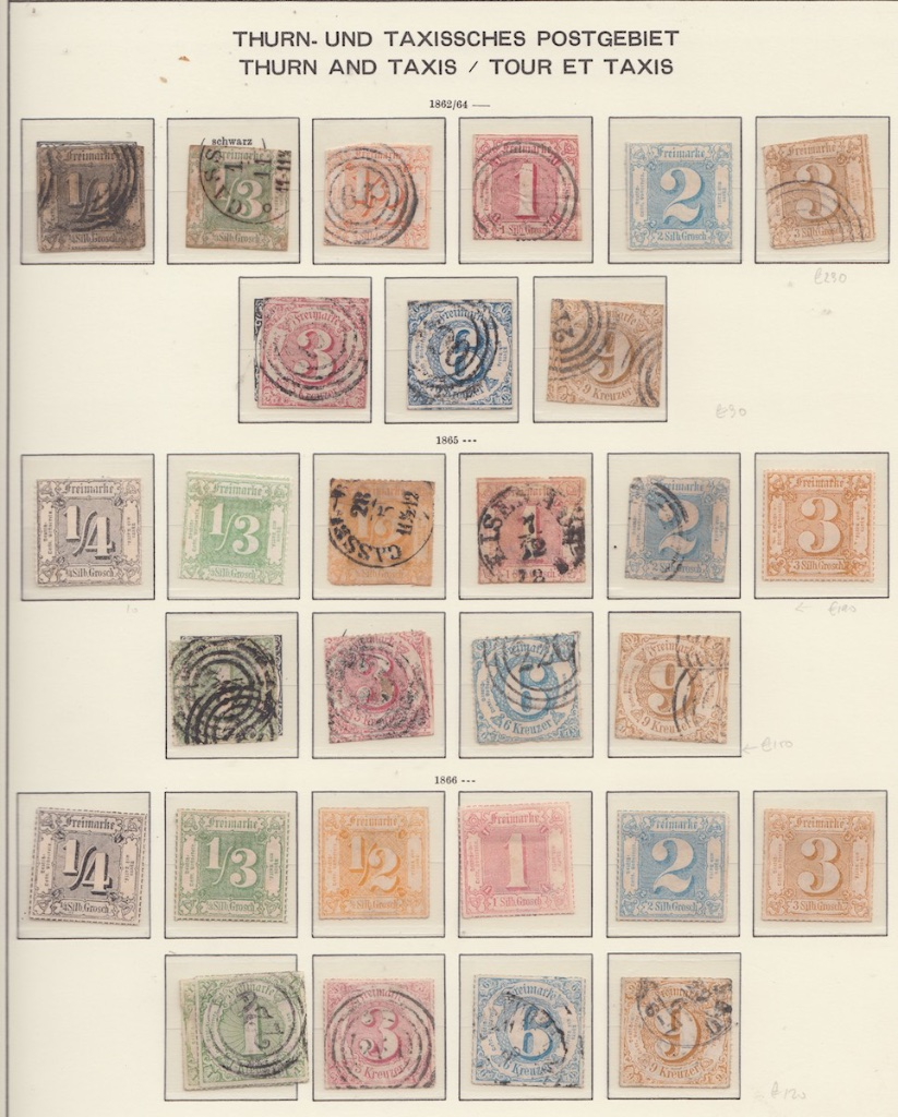 Album page 2 of early Thurn and Taxis Postage stamps.