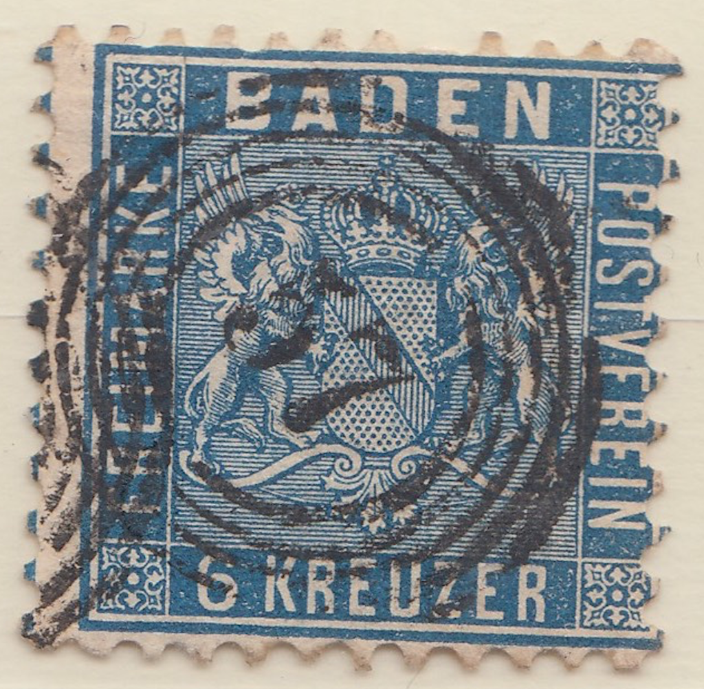 Baden cancel of five rings plus number 57.