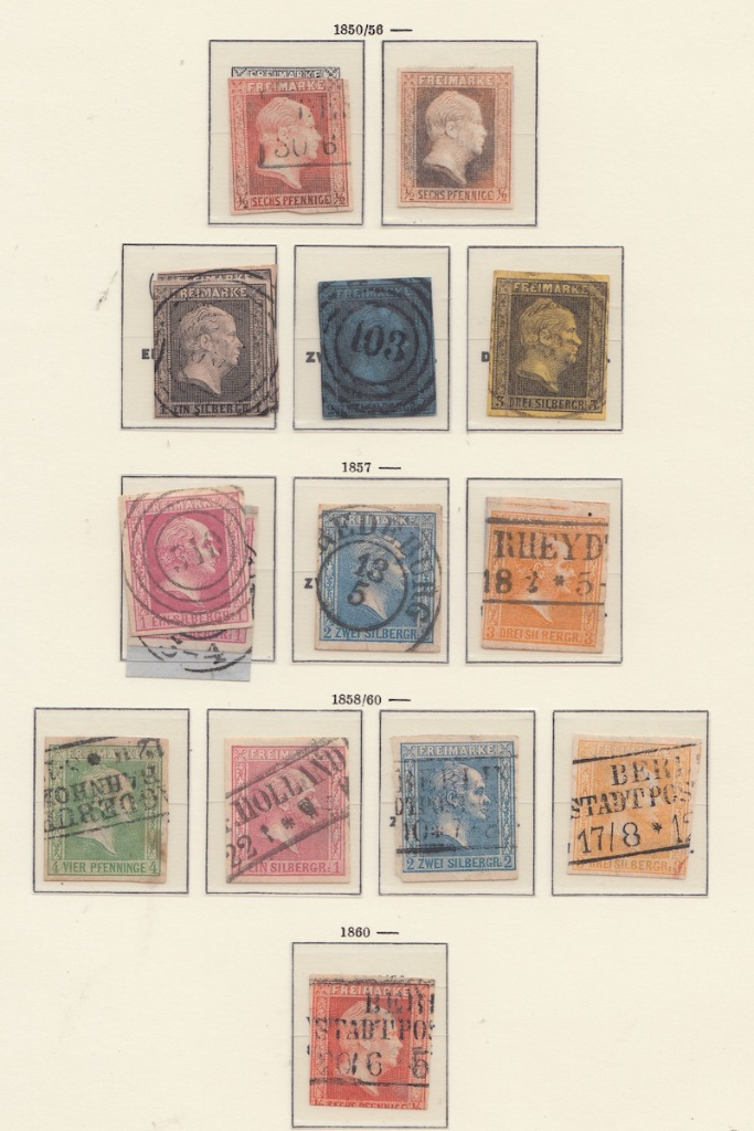 Page of German postage stamps Prussia. Three four ring with number on page can be observed.