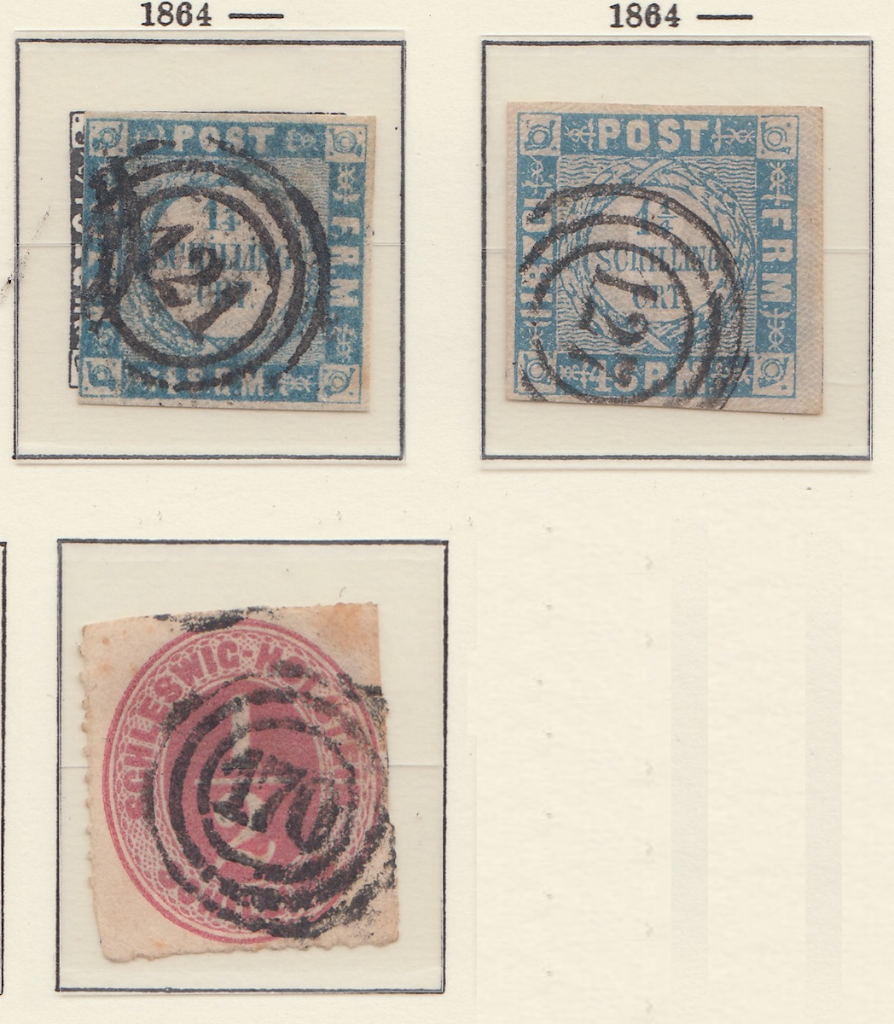 Three postage  stamps from Schleswig Holstein showing there circles and number inside.