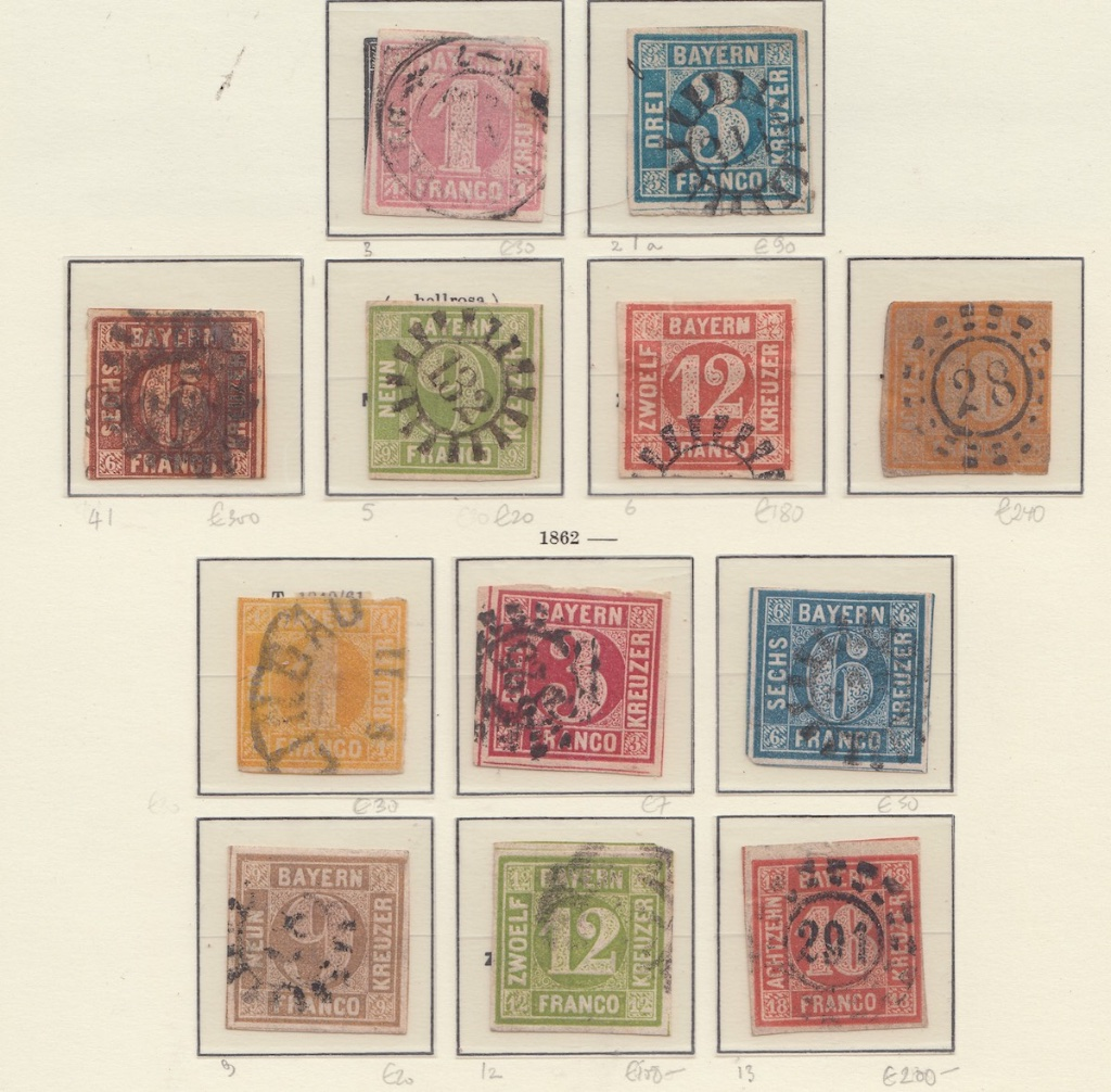 Album page of Bavaria Postage stamps.