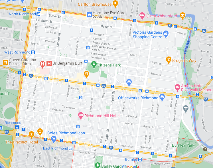 Map of Richmond showing Victoria Street at the top, Bridge Road in the middle & Swan Street at the bottom, Hoddle Street /Punt Road on the left & the Yarra River on the right