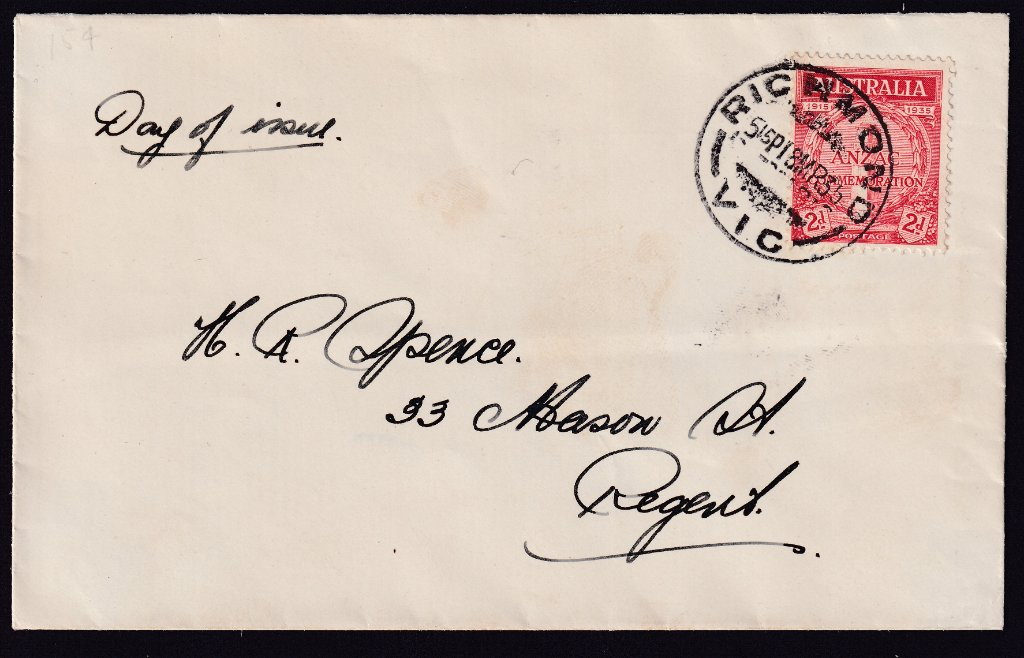 Uncacheted fdc for 2d ANZAC stamp cancelled Richmond cds on fdi 18th March 1935 to Regent