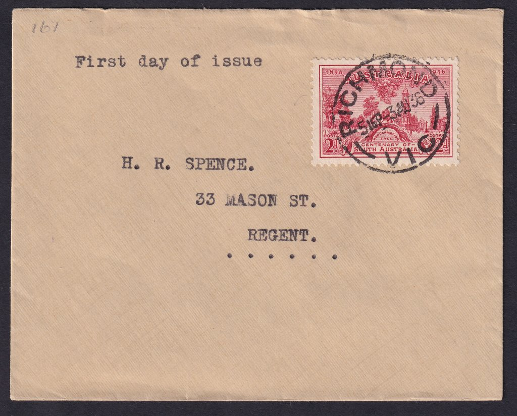 Uncaheted fdc for 2d Centenary of South Australia stamp cancelled Richmond cds on fdi 3rd August 1936 to Regent