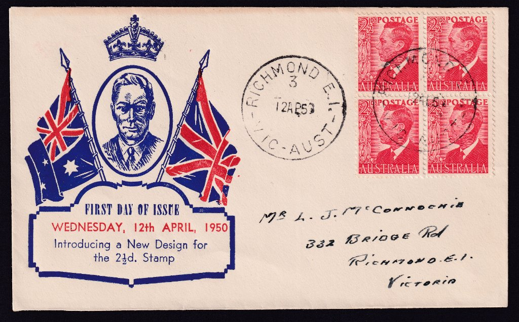 Haslem cachet fdc for 2½d KGVI red stamp cancelled Richmond 3 cds on fdi 12th April 1950 to Bridge Road, Richmond.