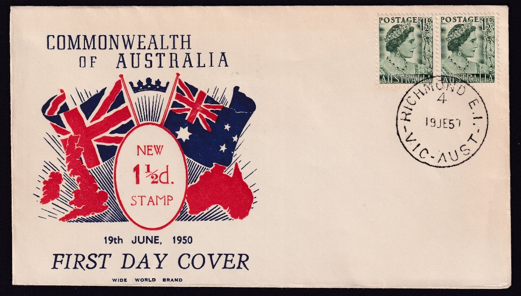 Wide World cachet fdc for 1½d Queen Elizabeth (Queen Mother) green stamp cancelled Richmond 4 cds on fdi 19th June 1950.