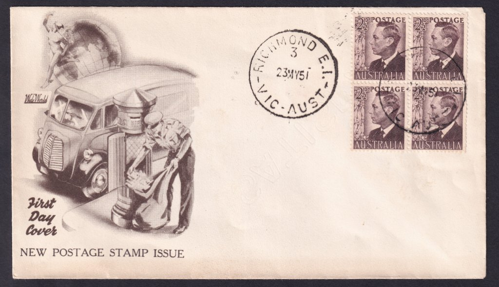 Wide World cachet fdc for 2½d KGVI brown stamp cancelled Richmond 3 cds on fdi 23rd May 1951.
