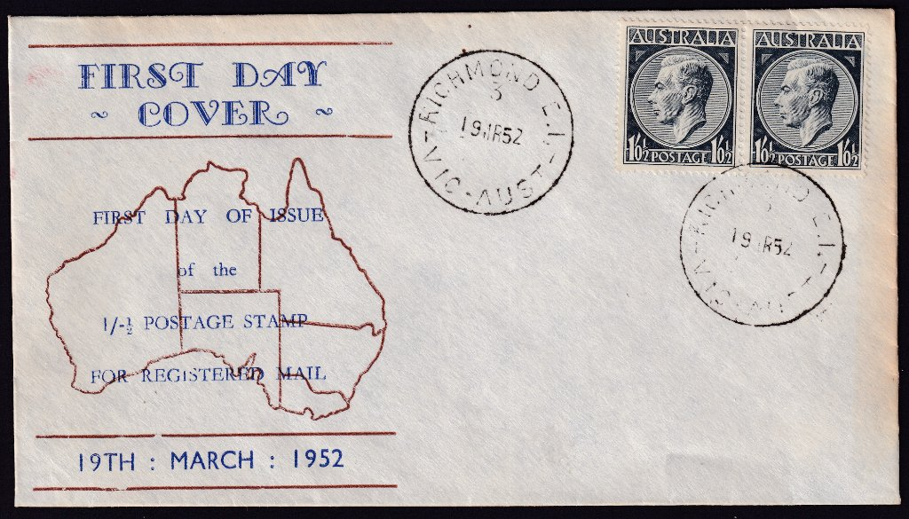 Haslem cachet fdc for 1/-½ KGVI stamp cancelled Richmond 3 cds on fdi 19th March 1952