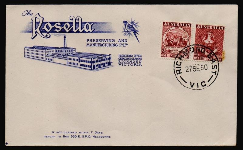 Rosella advertising cover used for Centenary of First Stamps of NSW & Victoria 2½d setenant pair cancelled on fdi with Richmond East cds 27th September 1950