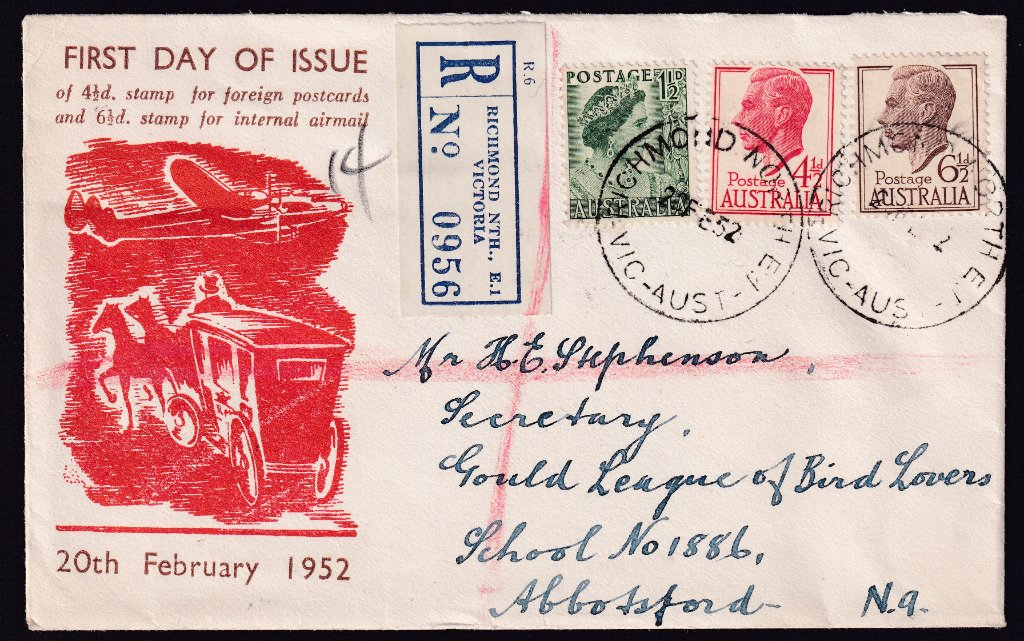 Registered Haslem cachet fdc KGVI 4½ red & 6½d brown stamps with QM 1½d green stamp added to make up registration rate of 1/0½ cancelled Richmond North cds on 20th February 1952 the fdi of the KGVI stamps to Abbotsford.
