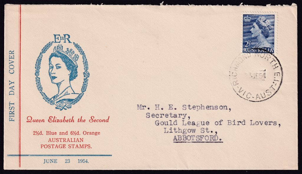 Haslem cachet fdc KGVI 2½d blue stamp cancelled Richmond North cds on 23rd June 1954 the fdi to Abbotsford.