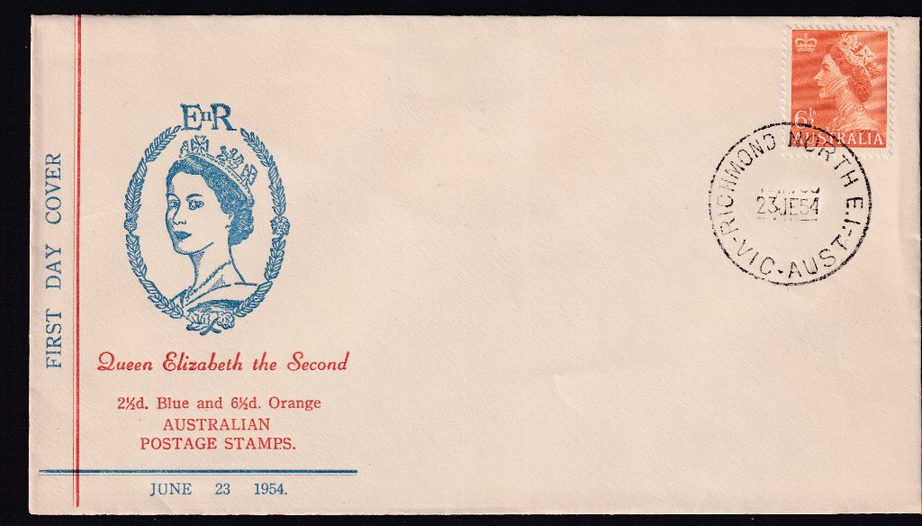 Haslem cachet fdc KGVI 6½d orange stamp cancelled Richmond North cds on 23rd June 1954 the fdi