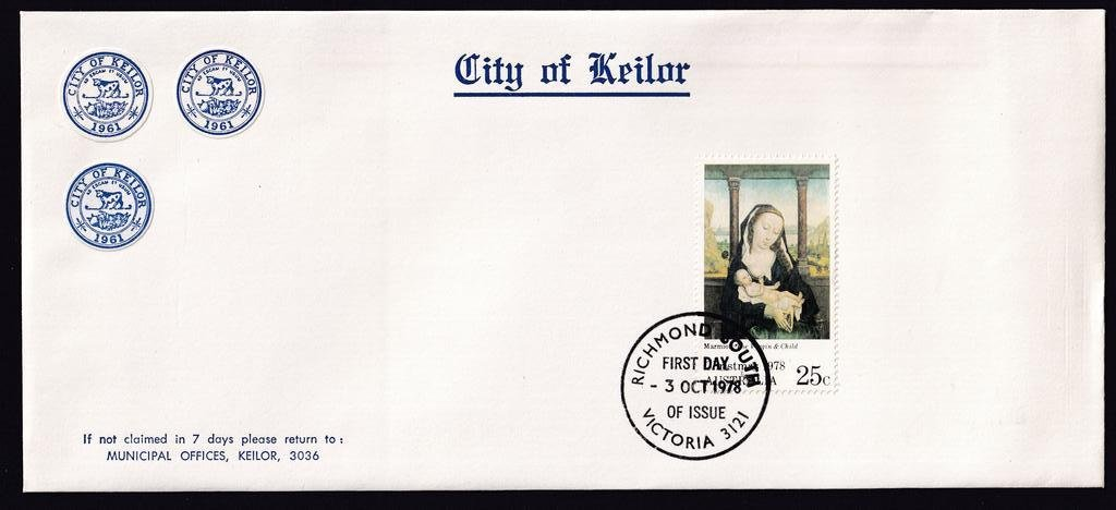 City of Keilor advertising cover used for 25c Christmas stamp postmarked with Richmond South fdi cancel on 3rd October 1978