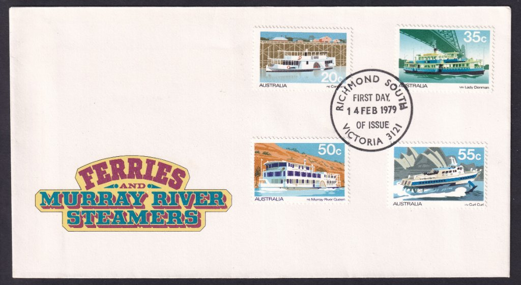 Australia Post fdc for Ferries & Murray River Steamers stamps postmarked with Richmond South fdi cancel on 14th February 1979.