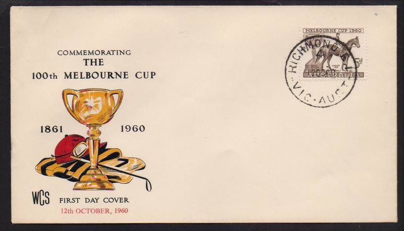 WCS fdc for 1960 Melbourne Cup 5d stamp postmarked Richmond cds on fdi 12th October 1960