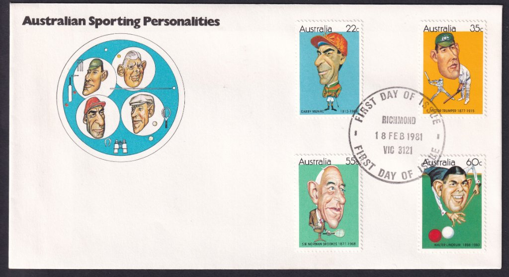 Australian Sporting Personalities fdc, including 22c Darby Munro stamp, postmarked Richmond fdi 18th February 1981