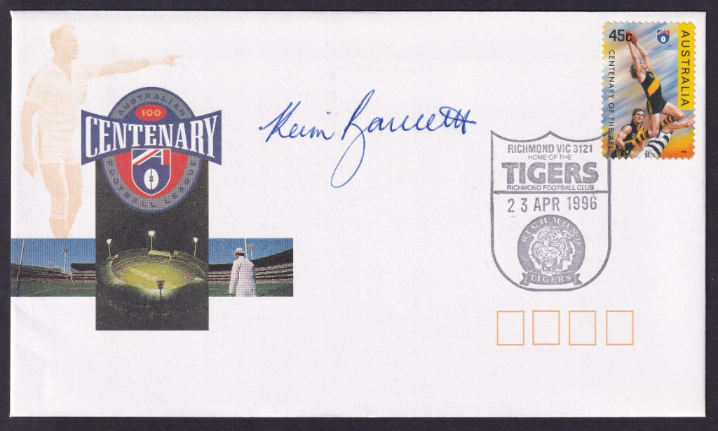 Centenary of the VFL fdc with Richmond 45c stamp cancelled on fdi Richmond Tigers pictorial postmark (APM #29074) fdu 23rd April 1996 signed by Kevin Bartlett.<br />He played for Richmond from 1965 to 1983 for 403 games, 778 goals, 5 premierships &amp; 5 best &amp; fairests. <br />He coached Richmond from 1988 to 1993 in 88 games.